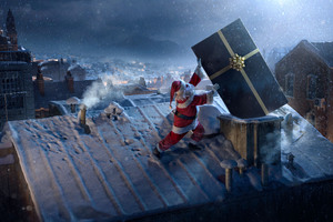 Santa Claus Chimne Present Delivery Wallpaper