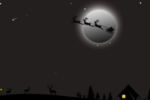 Santa Claus Deer Ride Wallpaper