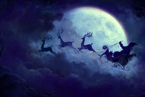 Santa Claus Moon Wallpaper