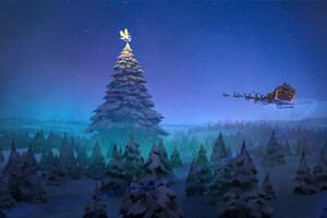 Santa Claus Reindeer Sleigh Flying Christmas Tree 8k Wallpaper