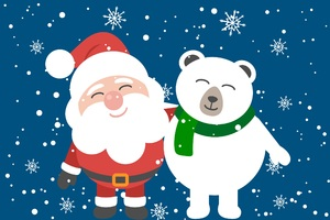 Santa Clause And Bear Friend