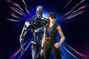 Sarah Connor And Terminator Fortnite 2021 Wallpaper