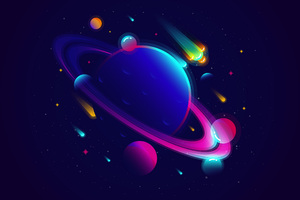 Saturn Planet Illustration Minimalist