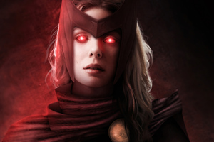 Scarlet Witch Glowing Red Eyes 4k Wallpaper