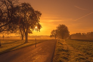 Scenic Road Sunrise Sunset Trees Meadow Wallpaper