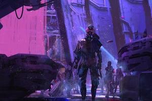 Sci Fi Cyberpunk Neon Robot Wallpaper