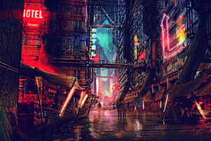 Science Fiction Cyberpunk Futuristic City Digital Art 4k Wallpaper