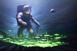 Scifi Astronaut Planting Trees Underwater Wallpaper