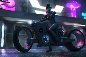 Scifi Biker Girl 4k Wallpaper
