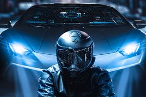 Scifi Biker Lamborghini 4k
