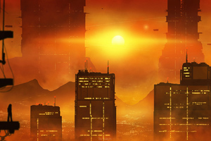 Scifi City Evening Blade Runner Wallpaper