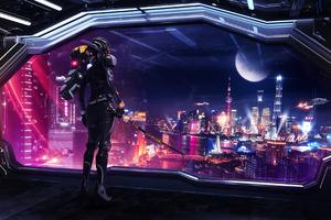 Scifi City Robot 4k