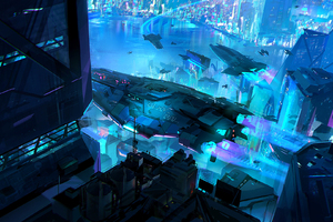Scifi City Spaceship