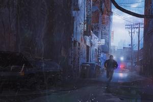 Scifi Cyberpunk Running Man Wallpaper