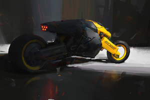 Scifi Fat Tyre Motorcycle 4k Wallpaper