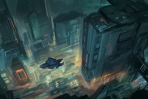 Scifi Future City Top View Vehicles Art Wallpaper