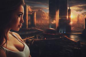 Scifi Girl City 4k