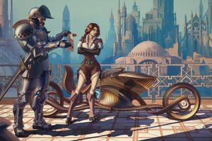 Scifi Girl Cyberpunk Conceptual Bike Artwork Wallpaper