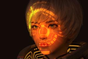 Scifi Girl Hologram Mask 5k Wallpaper