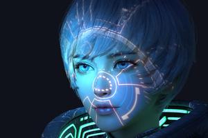 Scifi Girl Hologram Mask Wallpaper