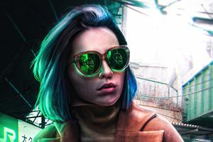 Scifi Girl With Skull Glasses 4k Wallpaper