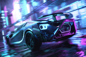 Scifi Neon Cars On Street Wallpaper