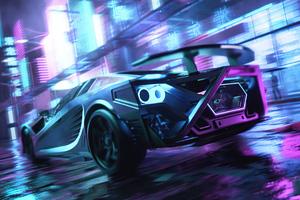 Scifi Neon Cars On Street