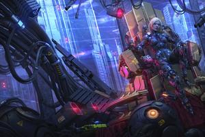 Scifi Robot Fantasy Girl Cyberpunk 8k Wallpaper