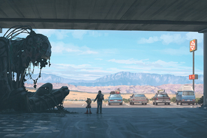 Scifi Robot Parking Garrage