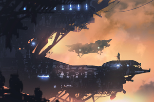 Scifi Space Warrior Digital Art Futurist