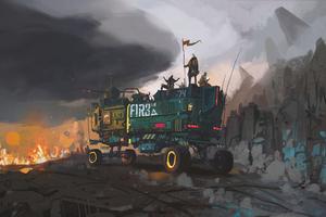 Scifi Truck Mining Field Wallpaper