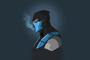 Scorpion Mortal Kombat Blue Minimal 5k