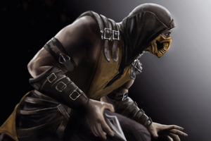 Scorpion Mortal Kombat X Art 4k Wallpaper