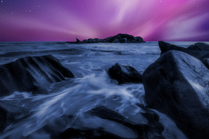 Sea Durning Night Time Rocks Artwork Wallpaper