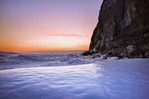 Sea Foam Snow Rocks Water Sky 4k