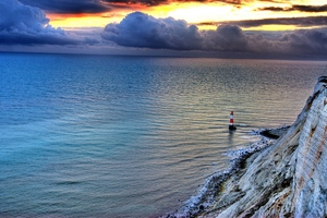 Sea Lighthouse Rock Sunset Wallpaper