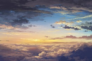 Sea Of Clouds Painting Wallpaper