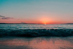 Sea Shore Ocean During Sunset Wallpaper