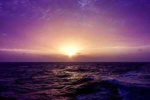 Sea Sunset Purple Wallpaper