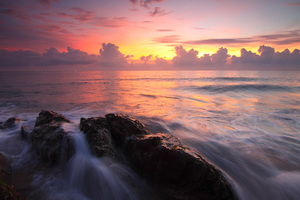 Seascape Sunset Water Rocks Ocean Wallpaper