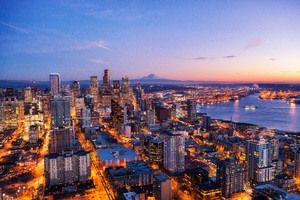 Seattle Skyline At Night View 4k Wallpaper