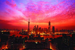 Shanghai Sunset Building Wallpaper