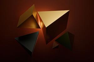Sharp Shapes Gold 4k Wallpaper