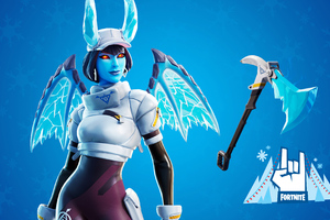 Shiver Outfit Along With The Frost Blade Pickaxe Fortnite Wallpaper