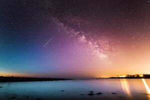 Shooting Star Rye Milky Way Above Body Of Water 5k