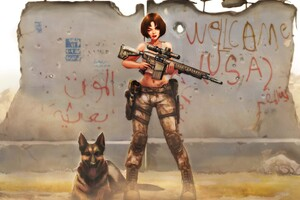 Short Hair Anime Girl Wtih M110 Gun Along Dog 4k Wallpaper