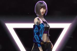 Short Hair Neon Girl Scifi Art 5k Wallpaper
