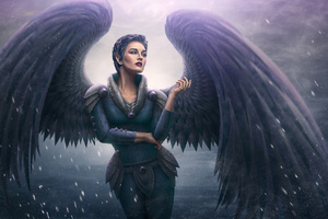 Shot Hair Angel With Wings Artwork