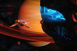 Shuttle Launching Inside An Asteroid 4k Wallpaper