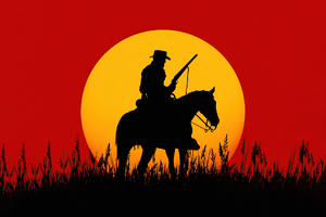Silhouette Cowboy Red Dead Redemption 2 5k Wallpaper